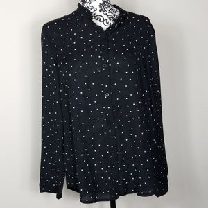 Women's Large Shein sheer polyester blouse